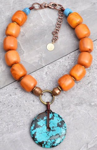 Custom Soul of Tibet Bold Amber Resin and Turquoise Disc Necklace