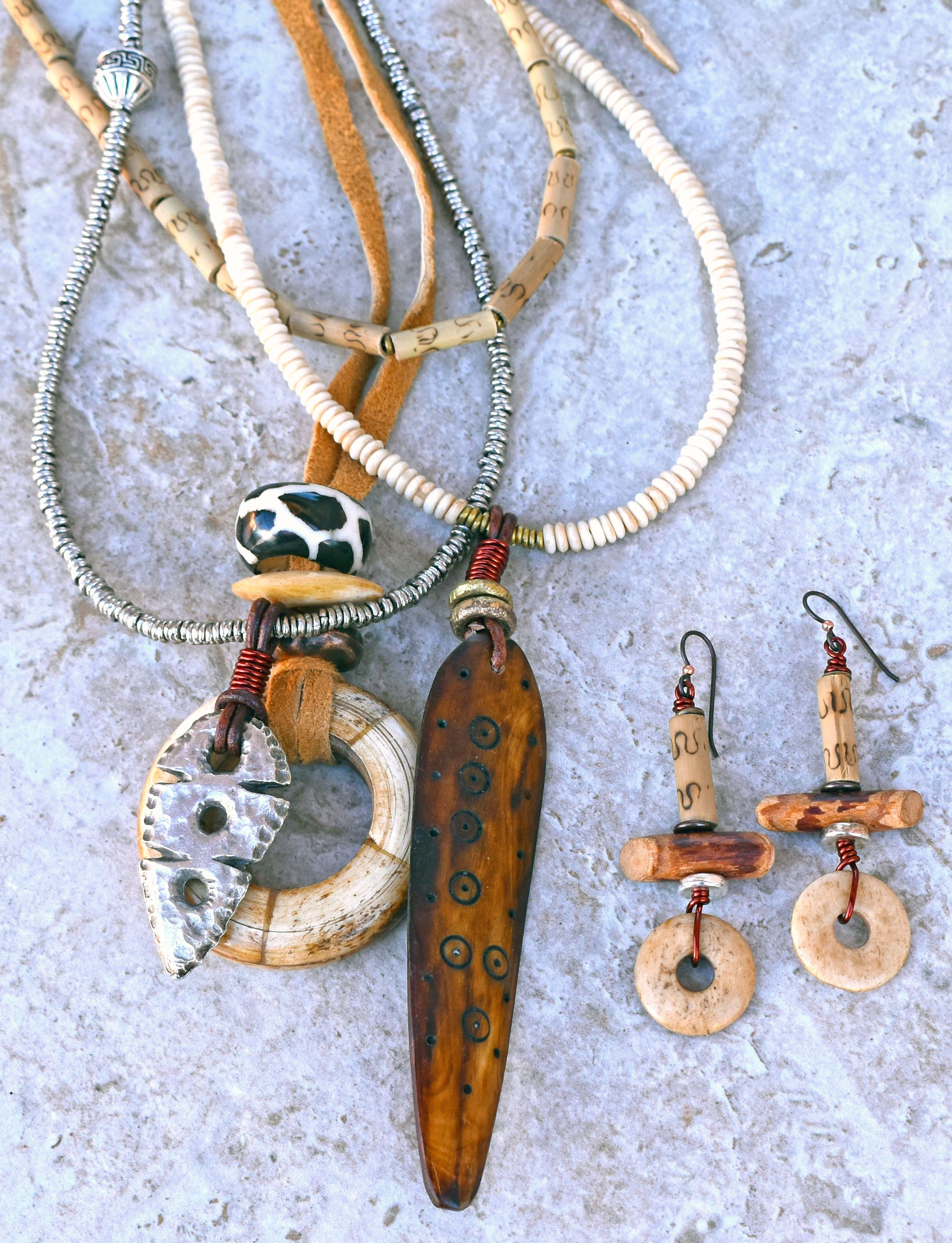 Boho Tribal Bone, Brown and Silver Multi-Pendant Necklace and Rustic Disc Earrings