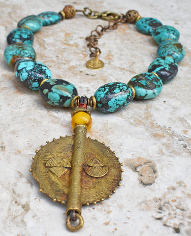 Bold Exotic Turquoise & African Brass Disc Pendant Statement Necklace