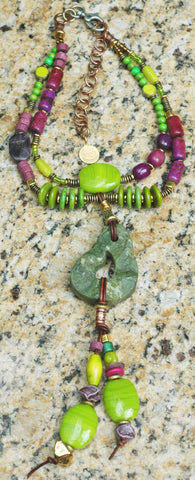 Lime Green, Purple Magenta, Gold, Leather & Jade Stone Tassel Necklace