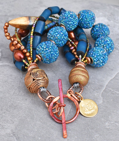 Grecian-Inspired Aegean Blue and Copper Statement Bracelet