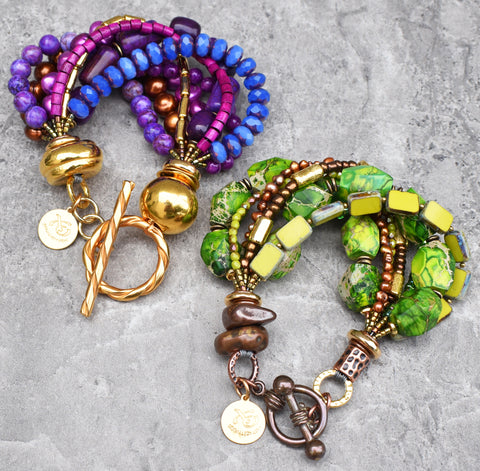 Bold, Brilliant and Vivid Purple, Green and Gold Statement Bracelets