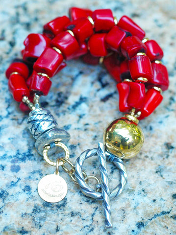 Make a Statement in RED with this Bold Red Coral Chunky Bracelet