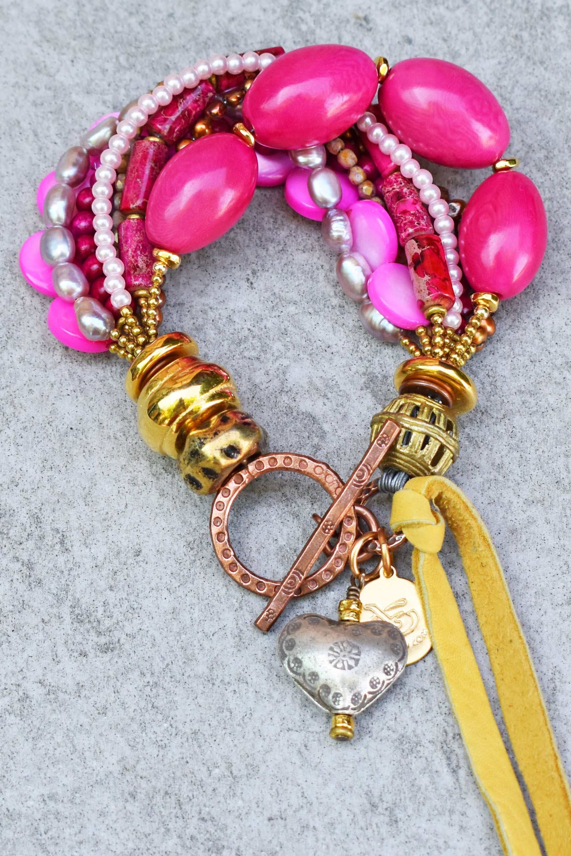 Vibrant and Fun Mixed PINK and Mixed Metals Heart Charm Bracelet
