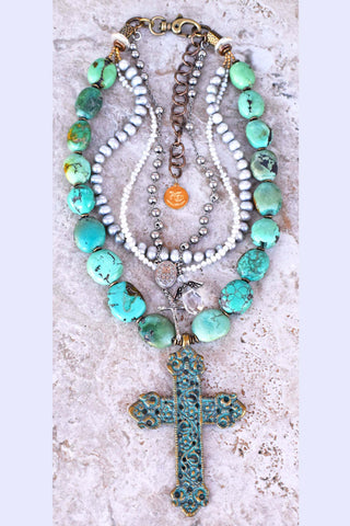 Custom Mixed Media Turquoise, Pearl, Crystal and Verdigris Cross Necklace