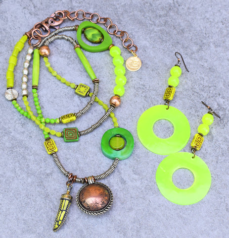 Dynamite Fun and Funky Bohemian Citrus Neon Lime Green Necklace and Earrings