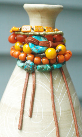 Tibetan Turquoise, Saffron, Amber, Brass & Leather Statement Bracelet