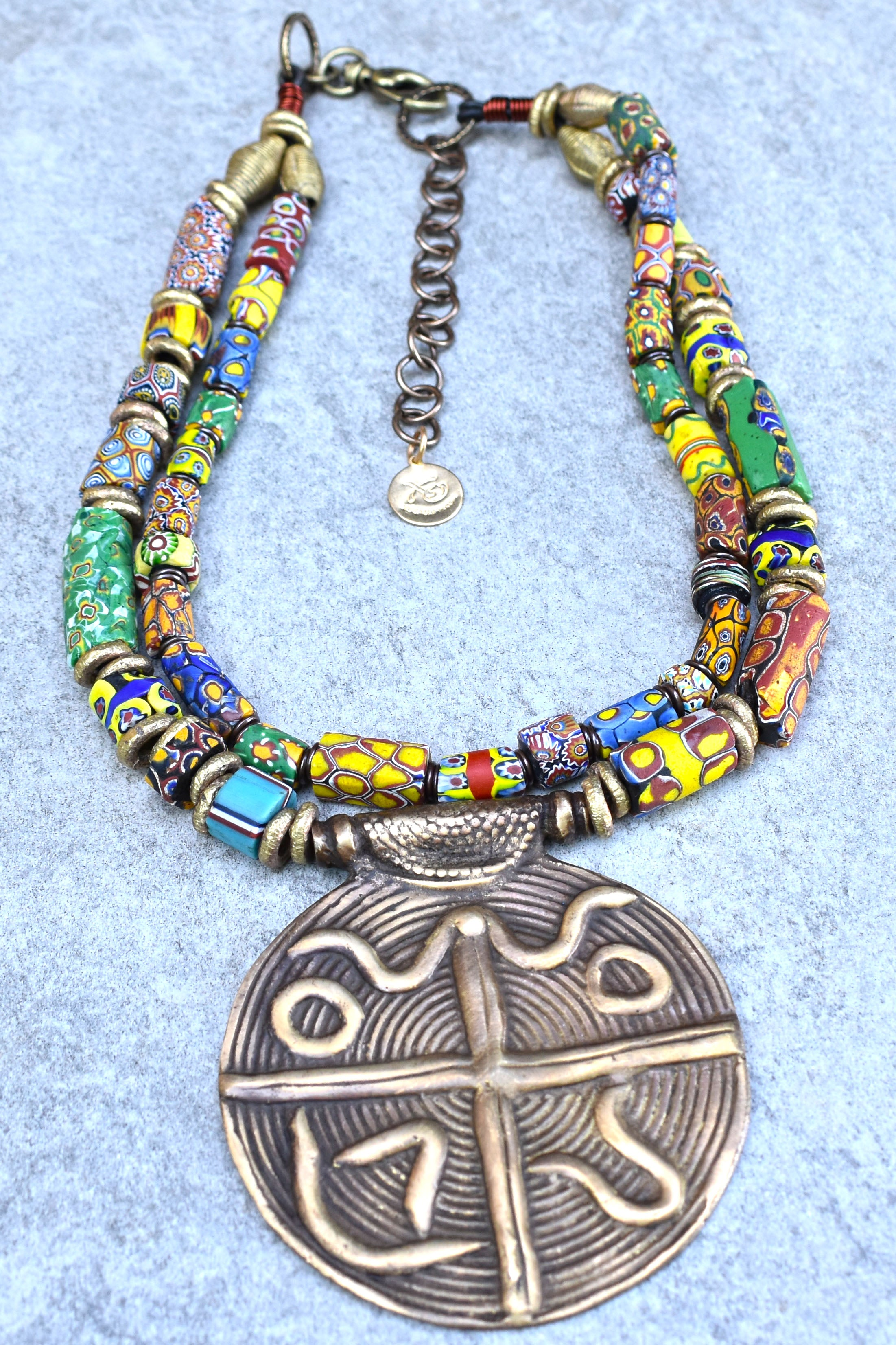 NEW! Ethnic and Exotic African Millefiori Trade Bead and Brass Medallion Pendant Necklace
