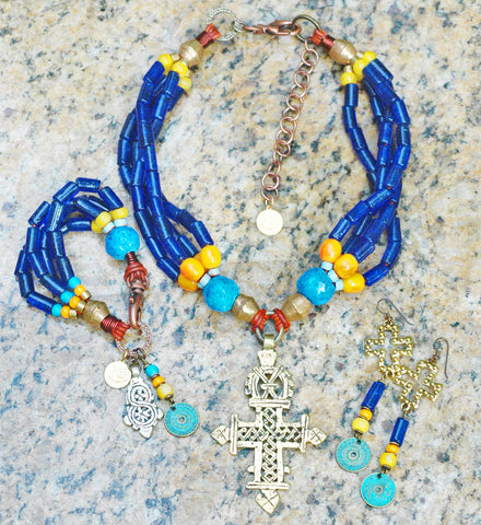 Turkish Cobalt Blue Glass Jewelry | Ethiopian Coptic Cross Jewelry