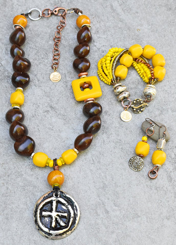 Sunshine in Wales: Brown Kukui Nut, Yellow Resin and Silver Jewelry Collection