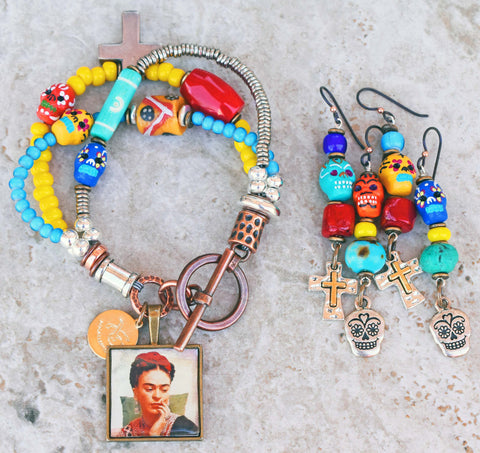 Custom Sugar Skull and Frida Kahlo Mixed Media Charm Bracelet and Earrings