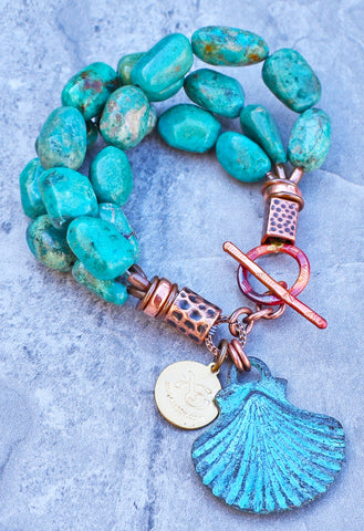 Sea-Inspired Turquoise and Copper Scallop Shell Charm Bracelet $95