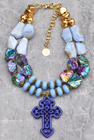 Hot off the Bench! Mystic Violet and Periwinkle Cross Statement Necklace