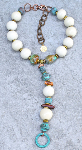 Vintage White, Turquoise & Wood Y Collar Necklace $245
