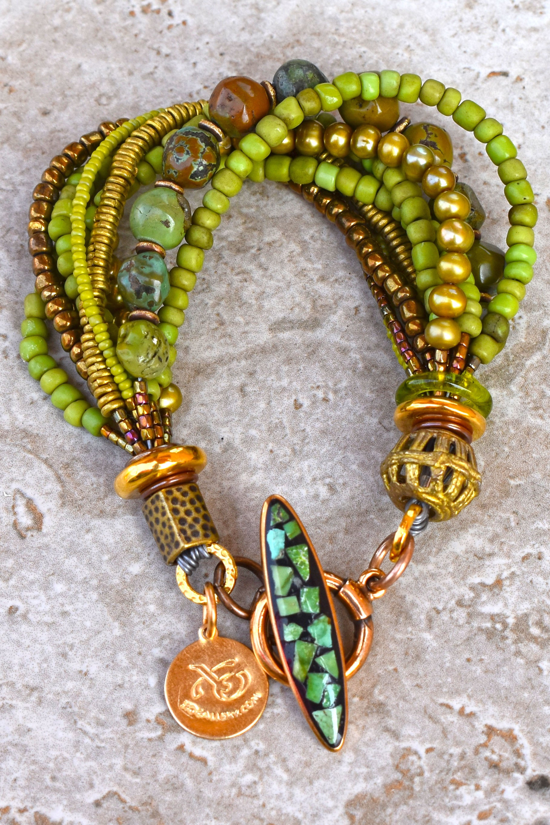 Gorgeous Natural Green Turquoise, Bronze Glass and Pearl Multi-Strand Bracelet $195
