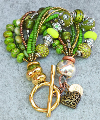 A Recreation of my Gorgeous Green Glitz and Glam Heart Charm Bracelet $175