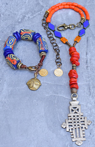Vibrant Orange and Blue Ethiopian Cross Necklace and Rustic Krobo Bracelet