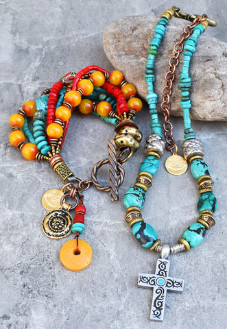 Fantastic Turquoise, Coral and Amber Tibetan Inspired Jewelry Set