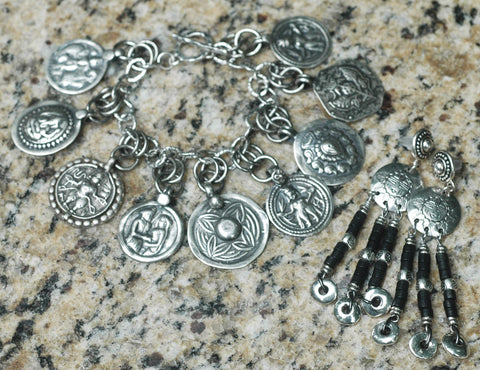 Sterling Silver Indian Coin Charm Bracelet and Concho Chandelier Earrings