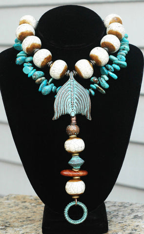 Custom Necklace Design: Beautiful Bone & Turquoise Collar Drop Pendant Necklace