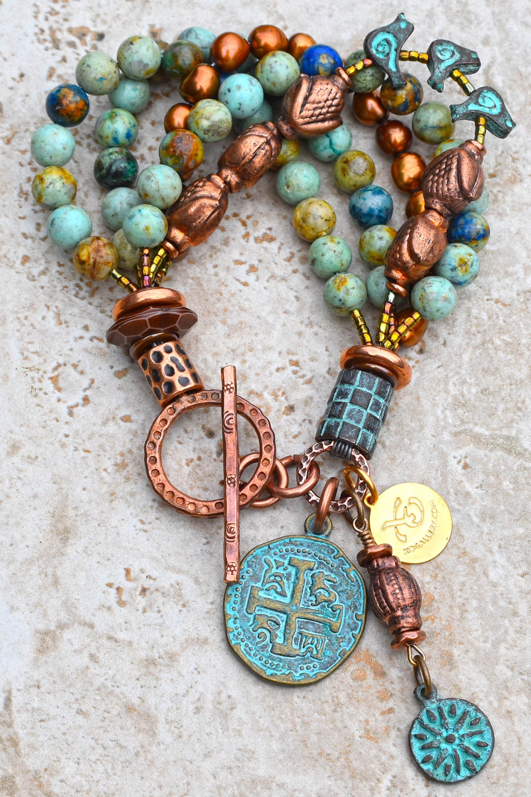 Unique Blue Brown Jasper, Copper Pearl and Verdigris Charm Bracelet