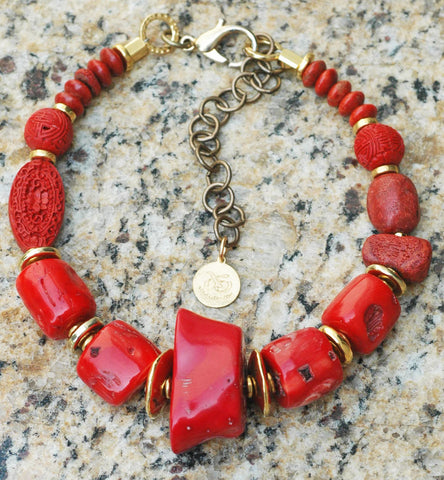 Custom Chunky & Bold Red Coral and Gold Choker Statement Necklace