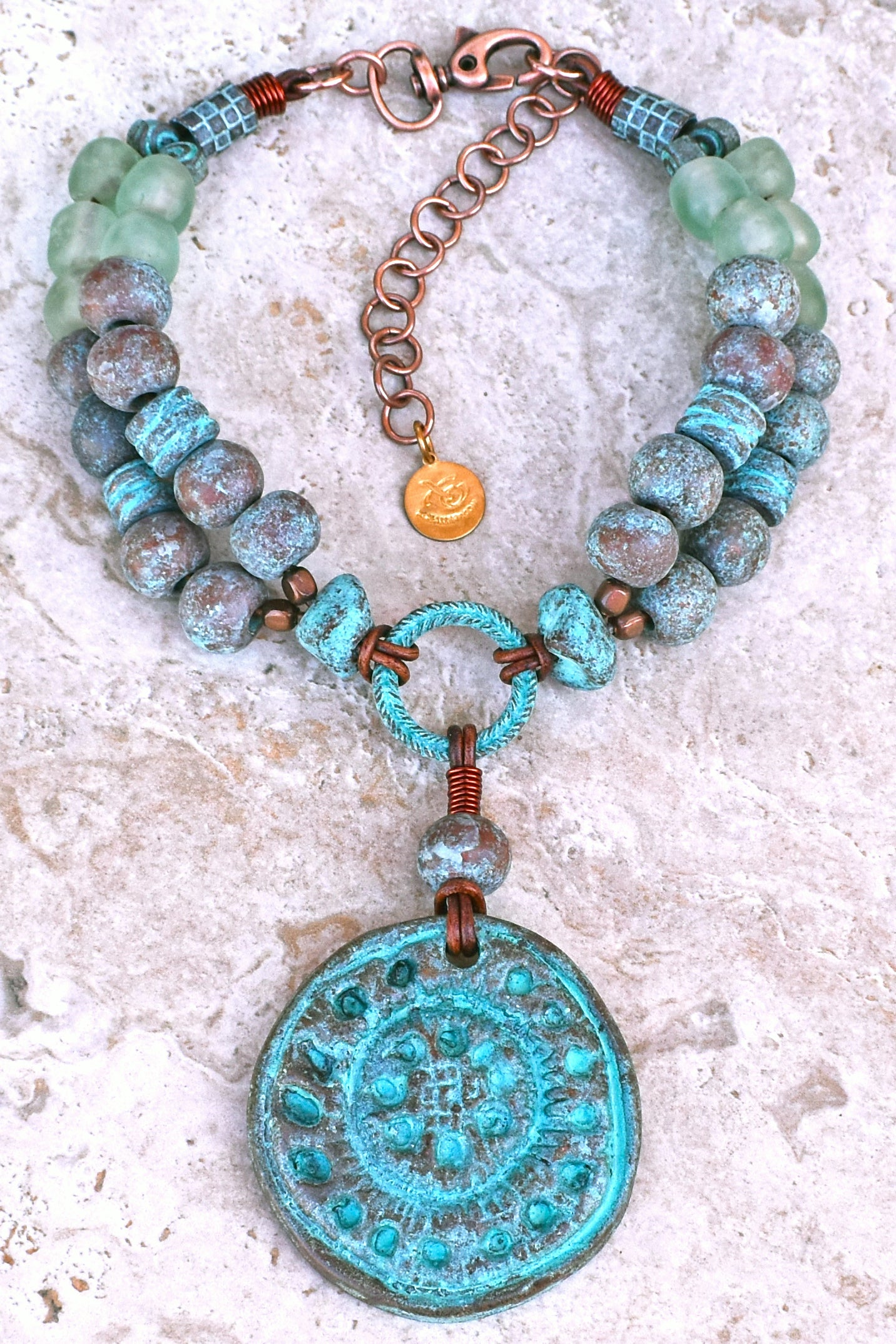 Bold & Dramatic Blue Glass and Grecian Warrior Shield Choker Necklace