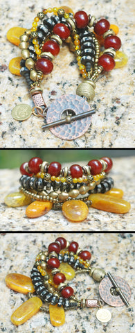 New! Yellow Agate, Carnelian & Tibetan Prayer Bead Statement Bracelet
