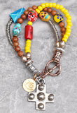 Custom Yellow Glass, Wood, Silver & Ceramic Sugar Skull Charm Bracelet