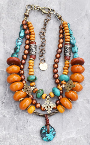 Ethnic and Exotic Tibetan Inspired Turquoise and Amber Custom Necklace