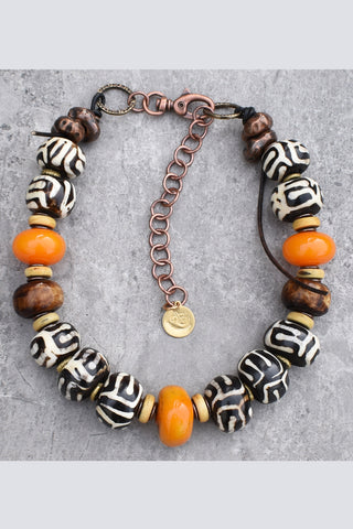 Custom African Tribal Choker Necklace featuring Batik Bone and Amber