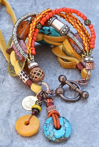 The Perfect Fall Bracelet! Rustic Orange and Turquoise Charm Bracelet $195