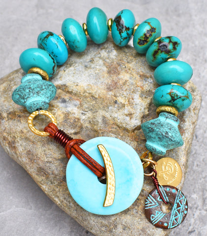 Gorgeous Chunky Turquoise and Gold Resort Style Statement Bracelet