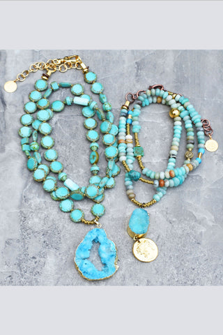 Customer Favorites! Long Blue Peruvian Opal and Druzy Agate Necklaces