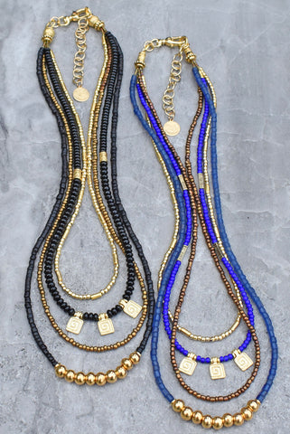 Fantastic Classic, Elegant Layered Black and Gold & Blue and Gold Holiday Necklaces