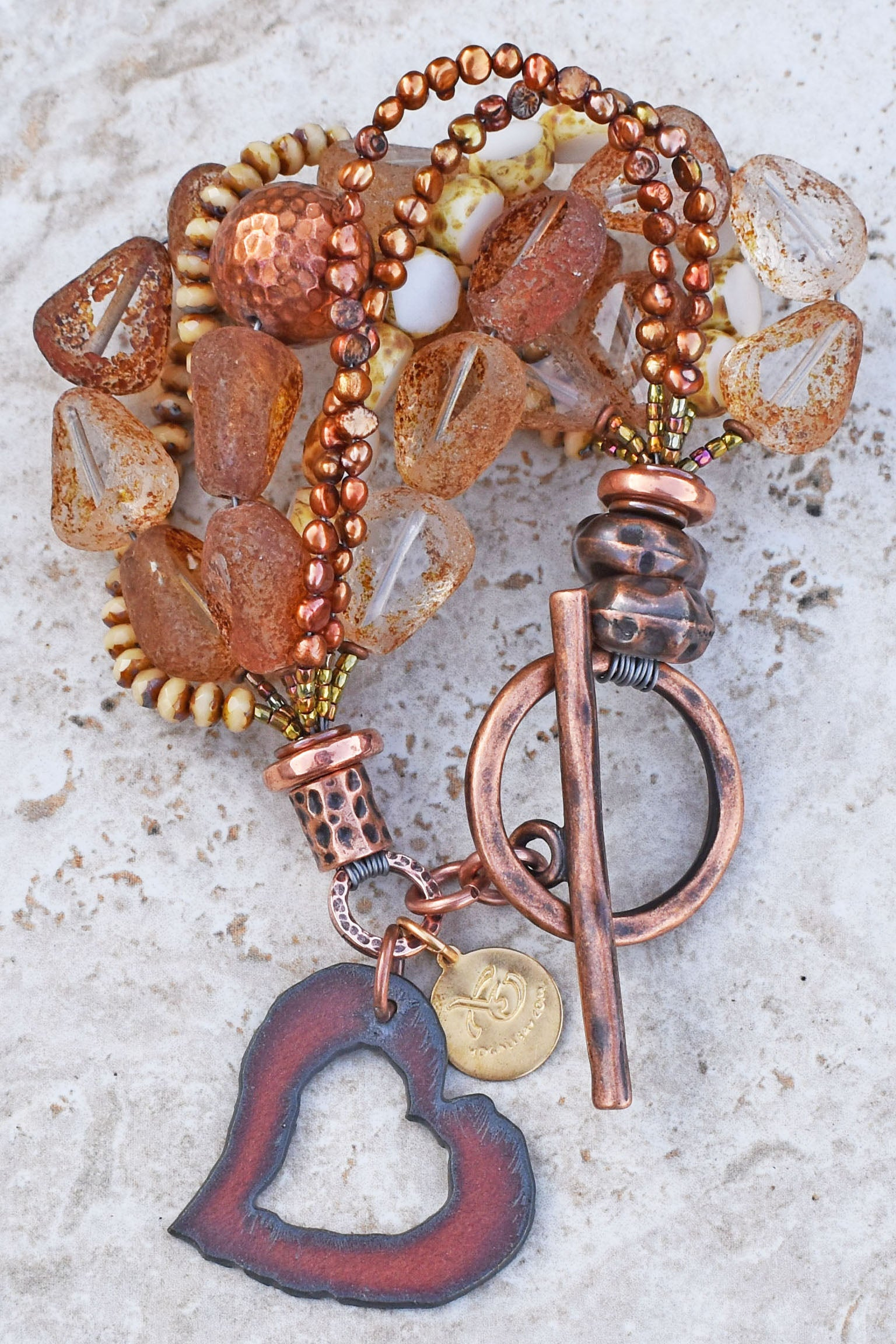 Rustic Chunky Glass, Hammered Copper, Pearl & Iron Heart Charm Bracelet