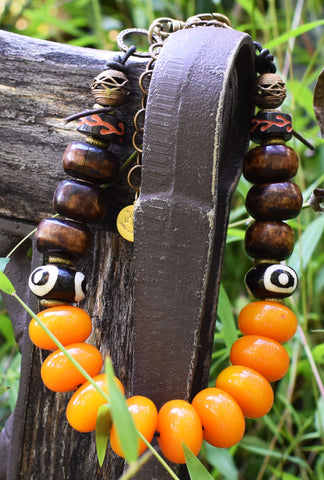Fantastic Fall and Winter Amber and Brown Tribal Collar Necklace $195