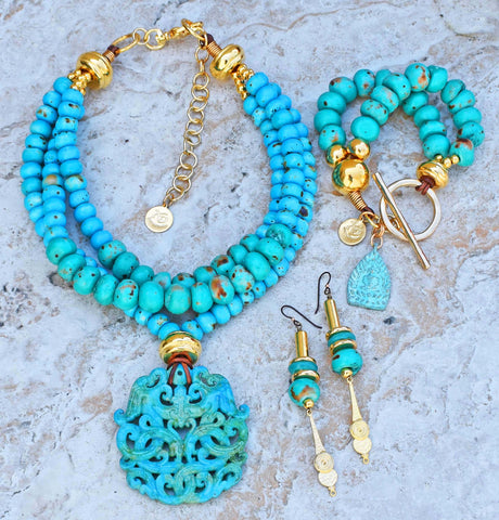 Recreation of my Stunning Turquoise and Gold Jiuzhaigou Jewelry Collection