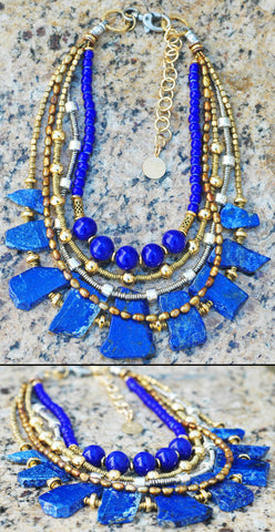 Custom Design: Elegant Lapis, Gold and Silver Statement Necklace $350