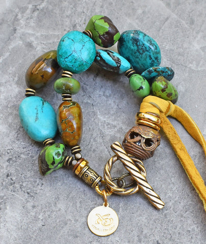 Gorgeous Mixed Turquoise Stones Boho Chic Must Have Wear Anywhere Bracelet $200