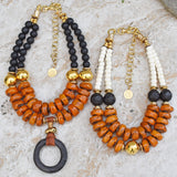 Gorgeous Amber, Black and White Statement Necklaces