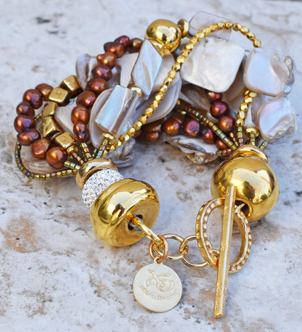 Holiday Inspired Statement Champagne Pearl, Bronze & Gold Bracelet