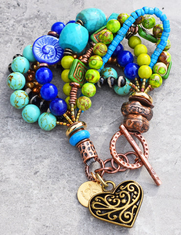 Blue, Green, Turquoise, Copper and Brass Heart Charm Statement Bracelet $150