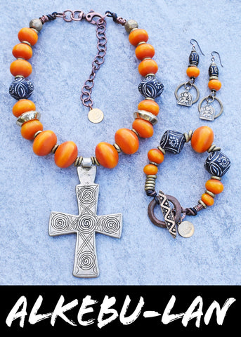 Hot off the Bench! Exotic and Ethnic African Cross and Copal Amber Resin Jewelry Collection