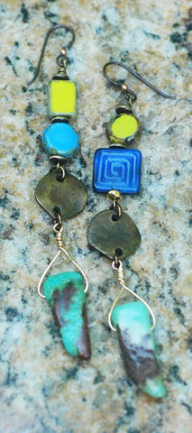 Amazonite, Lime, Purple, Glass and Bronze Coin Drop Statement Earrings