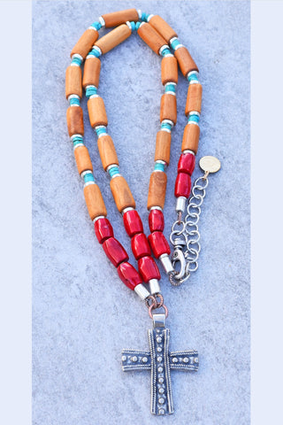 Mexican Inspired Coral, Turquoise, Wood and Silver Cross Pendant Necklace $175