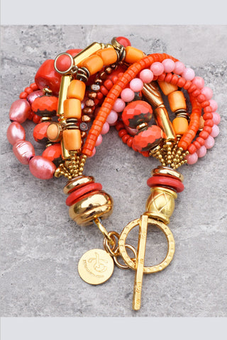 Bright and Vivid Custom Orange and Pink Coral and Gold Statement Bracelet $175