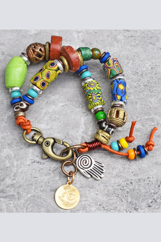Colors of Africa Soulful Millefiori and Trade Bead Charm Bracelet $140