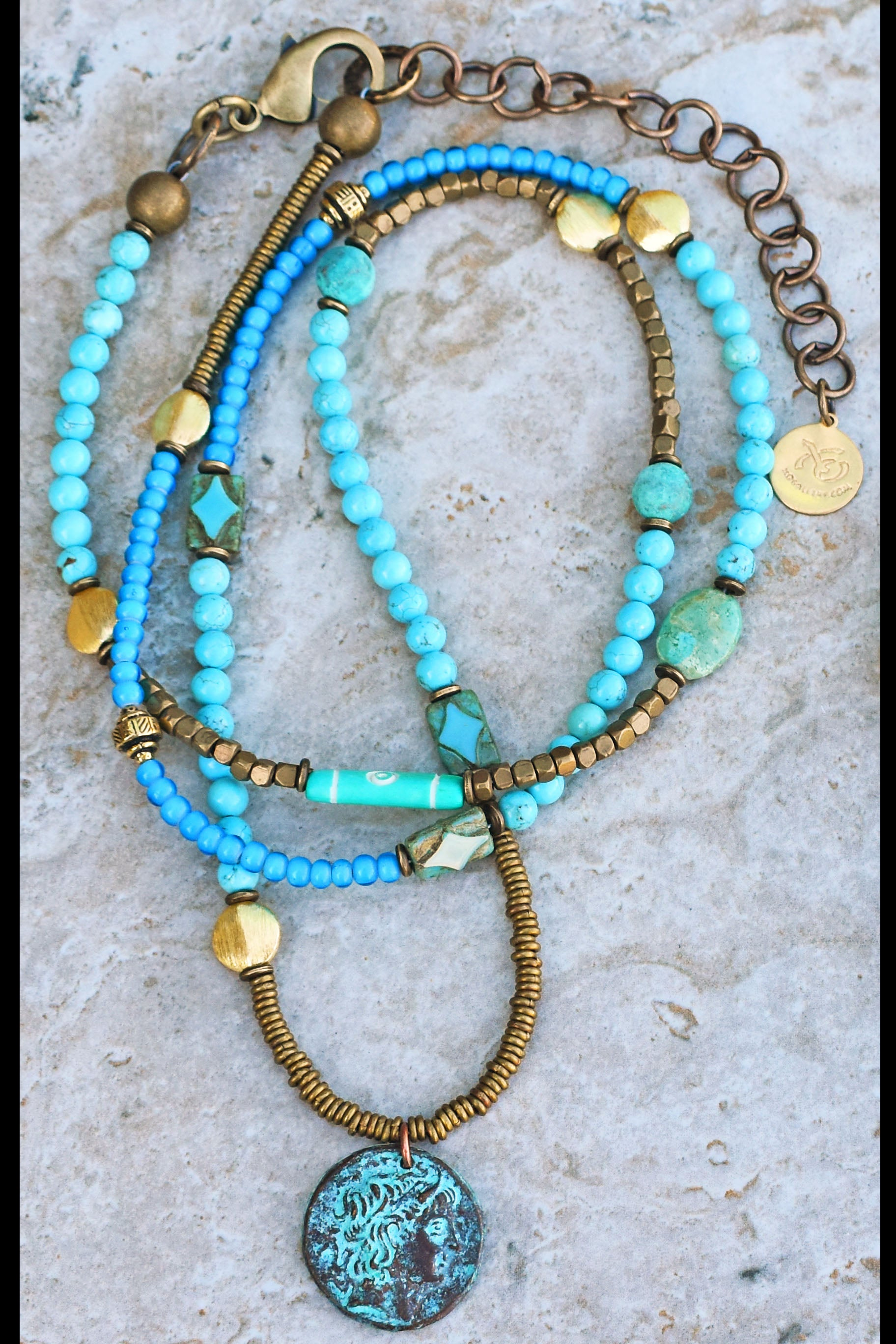 Long Bohemian Mixed Blues, Brass and Verdigris Coin Necklace