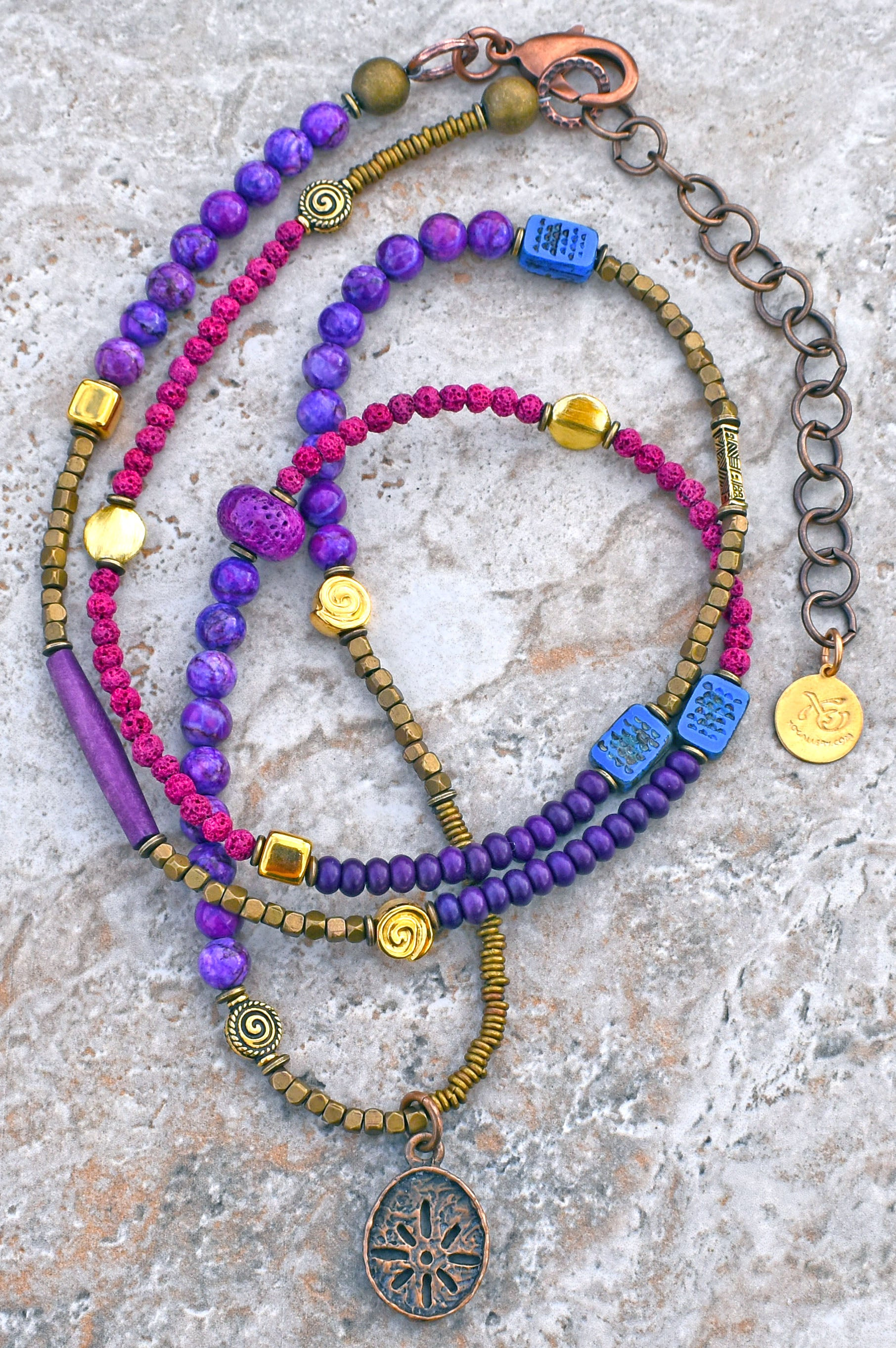 Custom Long Bohemian Mixed Purples, Fuchsia and Brass Sun Coin Necklace